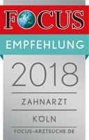 Focus Empfehlung 2018 Zahnarzt Zentrum für Zahnmedizin Neusser Straße