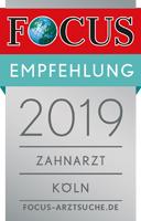 Focus Empfehlung 2019 Zahnarzt Zentrum für Zahnmedizin Neusser Straße