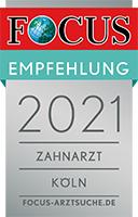 Focus Empfehlung 2021 Zahnarzt Zentrum für Zahnmedizin Neusser Straße