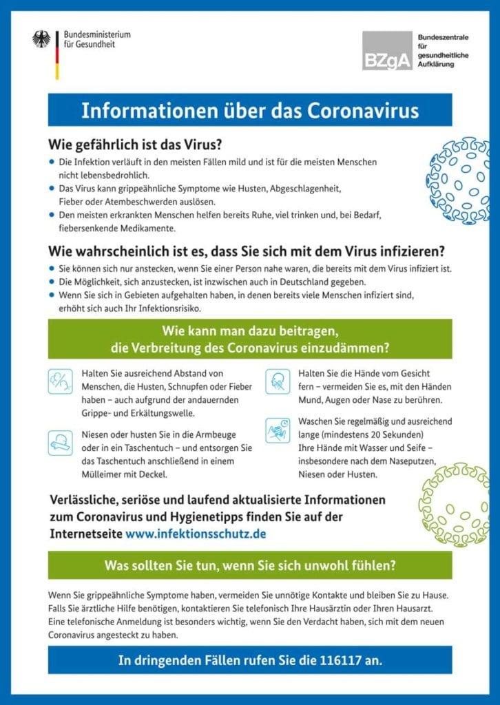 Coronavirus Informationen!